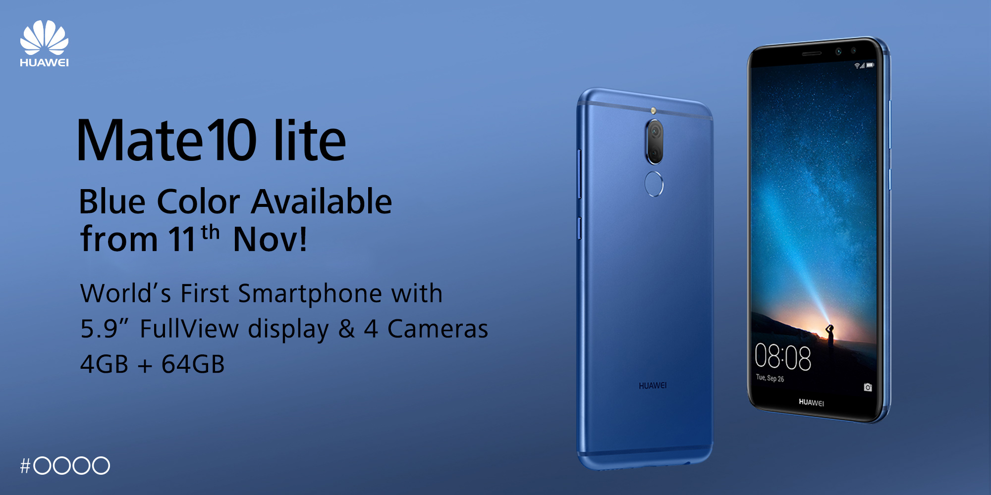 the exciting huawei mate 10 lite now available in aurora blue flare. Black Bedroom Furniture Sets. Home Design Ideas