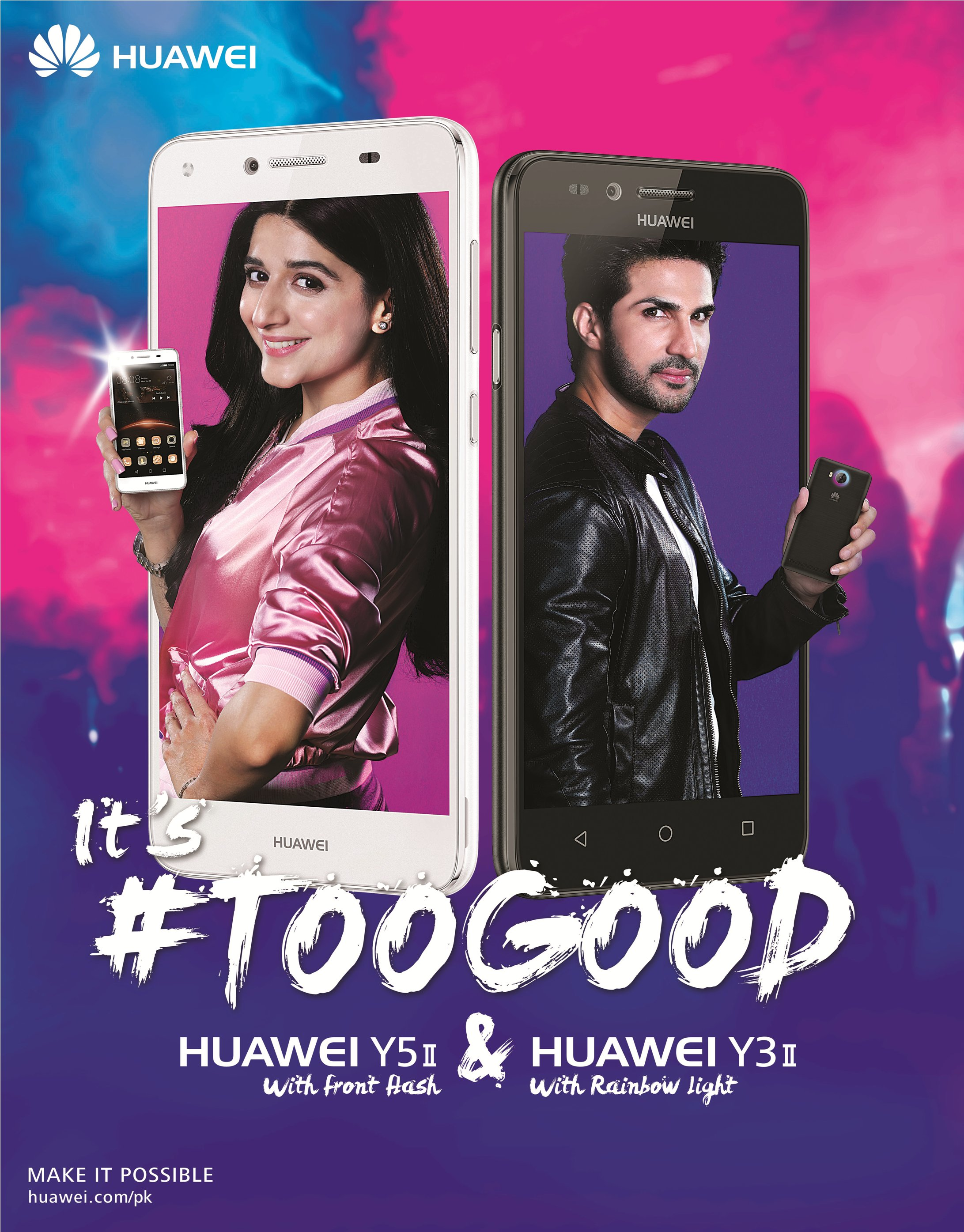 Presenting Huawei Y5 II with front flash and Huawei Y3 II with rainbow light#TooGood